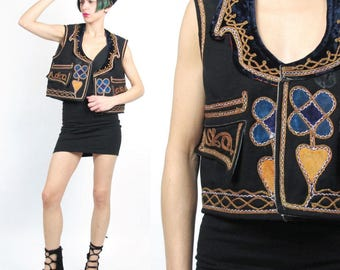 Vintage Antique Velvet Embroidered Vest Gypsy Hippie Boho Ethnic Vest Gold Turkish Vest Medieval Waistcoat Black Cropped Vest (L) E917