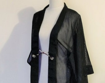 Vintage KIMONO jacket HAORI sheer black purple double side with silk purple Haori Himo Small size ready to ship