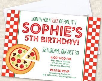 Pizza Party Birthday Invitations - Professionally printed *or* DIY printable