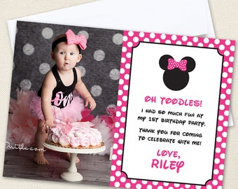 Minnie Mouse Photo Thank You Cards (Pink) - Professionally printed *or* DIY printable