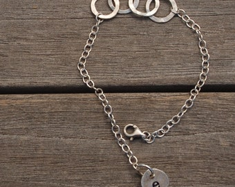 Sterling Silver Hand Made Link bracelet Chain with Flattened Sterling Links Lobster claw clasp INITIAL charm custom bracelet