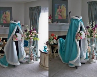Classic Audrey Hepburn Bridal Cape 52/67-inch  Aqua-Turquoise/ Ivory Satin Wedding Cloak hooded with Fur Trim Handmade in USA