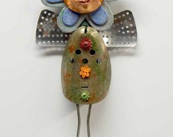 Assemblage Art Doll Mixed Media Flower Fairie Blue