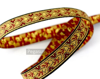 Japanese Cherry Blossom Gold and Regal Red Woven Ribbon (sold by the yard) diy craft,vintage fashion,gift wrap,japanese art,victorian