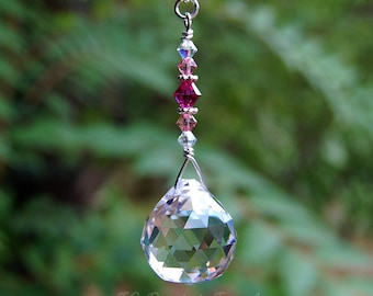 Pink Hanging Crystal Prism Suncatcher, Ceiling Fan Light Pull Chain Ornament, Rearview Mirror Car Charm, Rainbow Maker