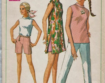 Simplicity 7591 / Vintage 60s Sewing Pattern / Pants Shorts Top Dress Tunic / Size 14 Bust 36