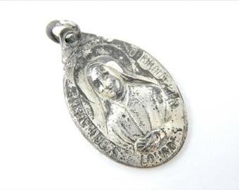 Vintage Saint Bernadette - Our Lady of Lourdes Catholic Medal - Patron Saint of Sick - Religious Charm - Religious Jewelry Z99