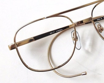 Eyeglass Frame Earpiece : vintage 90s deadstock eyeglasses oval frames gold metal