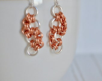 Chainmaille  Earrings - Two Tone Dangle Earring - Silver Rings - Copper Rings - Silver Earrings - Organic Earrings - By BALOOS