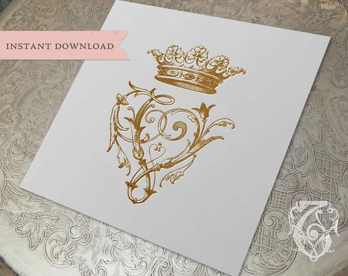 Vintage Wedding CROWN Crest Initial V Digital Download