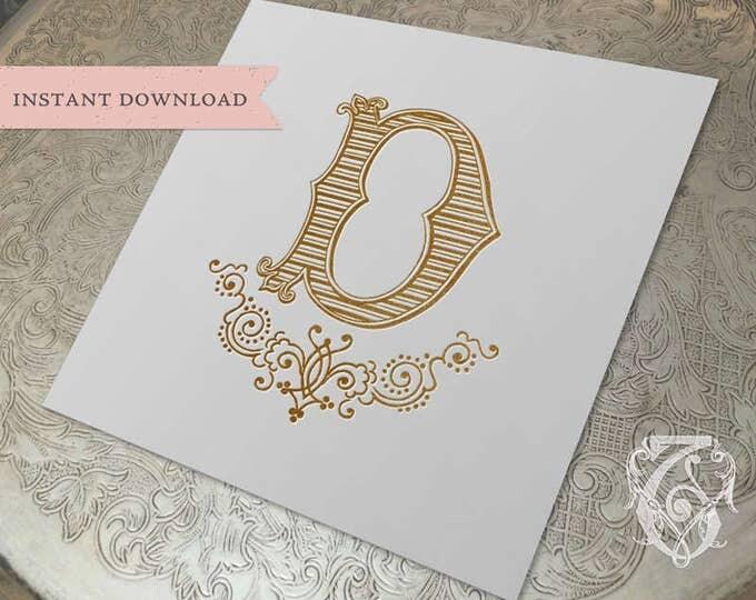 Vintage Wedding Crest Initial D Digital Download