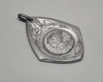 Vintage Art-Deco French Warrior Art Medal 1930's Silver Toned Metal