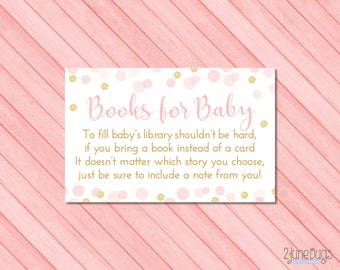Pink and Gold Baby Shower Book Request Cards, Bring Book Instead of Card, Baby Girl Shower, Confetti Pink Gold Glitter, PRINTABLE