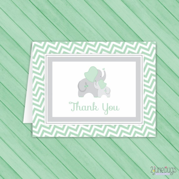 mint green elephant chevron thank you card template elephant