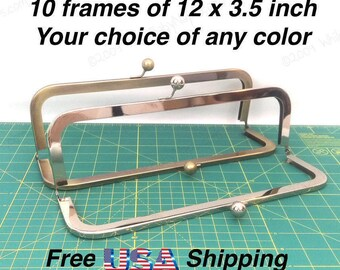 10 frames of 12x3.5 inch Nickel and/or Antique Brass metal purse frames for leather satchel, large handbags or cinema purse