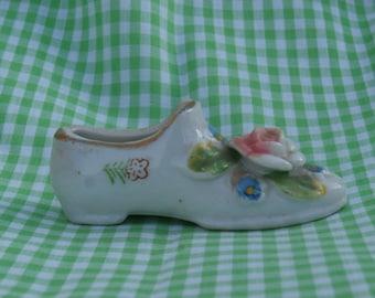 Decorative Shoe Figurine, Miniature Japan Made Porcelain, Hand Painted, Rose on Toe, Vintage Sweetness