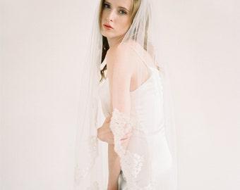 Lace Veil, Fingertip Veil, Cathedral Veil, Lace veil, Short Veil, Scalloped lace veil, Lace edge Veil, Ivory Veil, floral lace veil - Ella