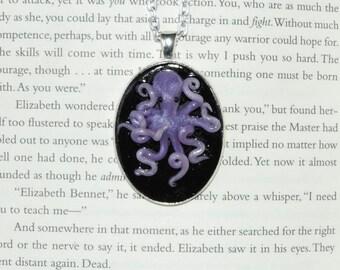 Clearance Purple octopus cameo pendant necklace.