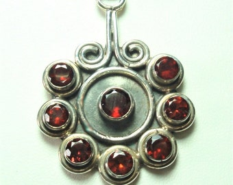 Garnet Pendant in Sterling with Faceted Hematite Bead Necklace and Sterling Toggle
