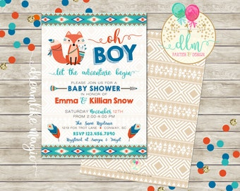 Tribal Baby Shower, BABY BOY Shower Invitation, Fox Invitation, Adventure Baby Shower, Nature Baby Shower, Arrows, Feathers, Printable DIY