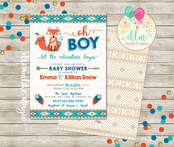 tribal baby shower baby boy shower invitation fox,