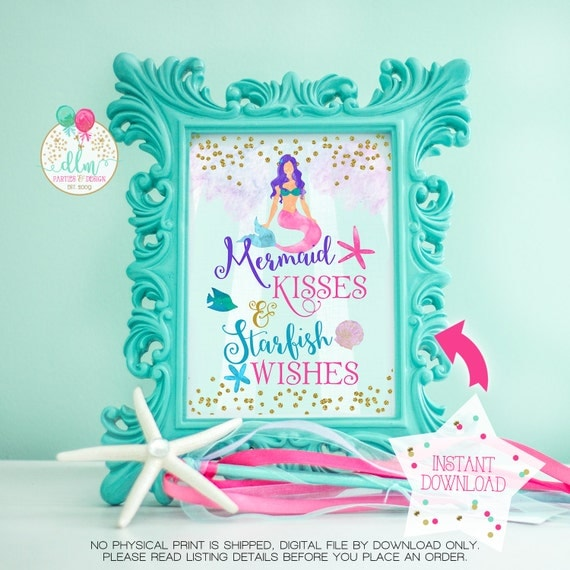 Mermaid Printable Art Mermaid Kisses and Starfish Wishes Wall Art