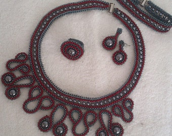 Burgundy And Grey Tone Bead Crochet Set