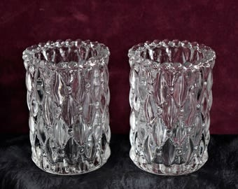 Vintage Clear GLASS CANDLE HOLDER Votive Candleholder Tealight Tea Light Pressed Diamond Tuck Design Pattern Pair Set 2 Holiday Decoration