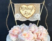 Burlap & Lace  Baby Shower Cake Topper Bunting Flag Banner Wood Heart Rustic Country Shabby Chic Baby Name Cake Topper Welcome Baby Topper