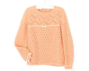 Vintage Mohair Sweater * Fuzzy Peach Pullover * Lace Open Knit Sweater * Medium