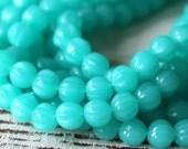 7mm Round Melon Bead - Czech Glass Beads - Jewelry Making Supplies (25 beads) Milky Seafoam