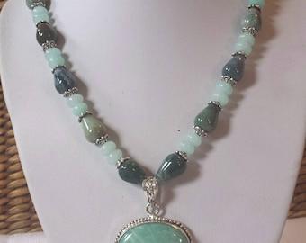 Lovely  Aquamarine Natural Stone necklace with a Blue Amazonite pendant