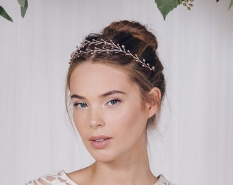 bohemian tiara, woodland tiara, rustic tiara, boho browband, woodland browband, boho headband, silver, gold or rose gold tiara - Leander
