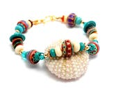 Southwest Lampwork Bead Bracelet. Tribal Bead Bracelet. Colorful Artisan Tribal Beads. Bohemian Bracelet. Gifts For Her. Glass Bead Jewelry.