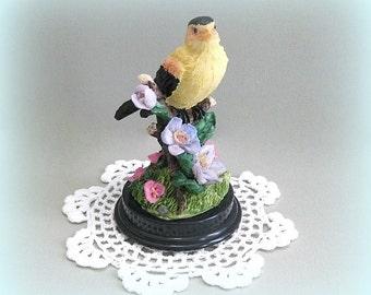 Yellow Bird Decor Decorative Bird Accent Bird Figurine Bird Decoration Bird Flower Bird Branch Small Bird Miniature Bird Statue Bird Figure