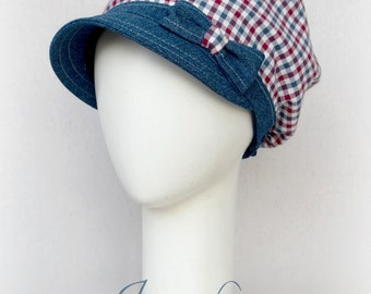 Checkered Slouchy Visor Beanie Newsboy Cap Head covering
