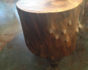 Dark Walnut Stump Table Vintage Cast Iron Legs