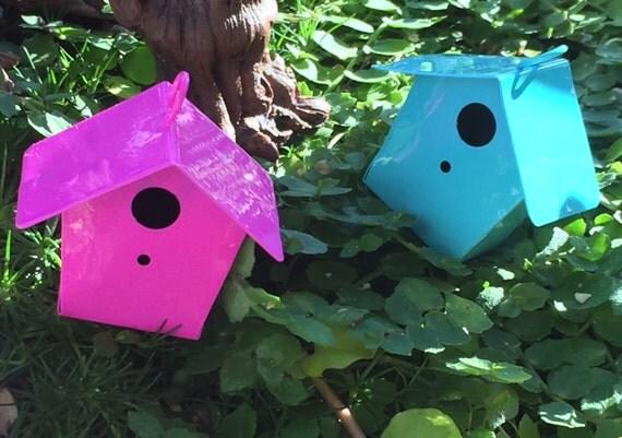 Miniature Bright Pink Metal Birdhouse, Fairy Garden Accessory, Miniature Gardening, Home and Garden Decor, Topper, Crafting