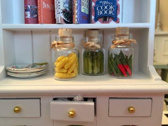 Miniature Food Jars, Filled Jars, Miniature Preserves, Veggies, Set of 3 Jars, Style 1, Dollhouse Miniatures, 1:12 Scale, Mini Food