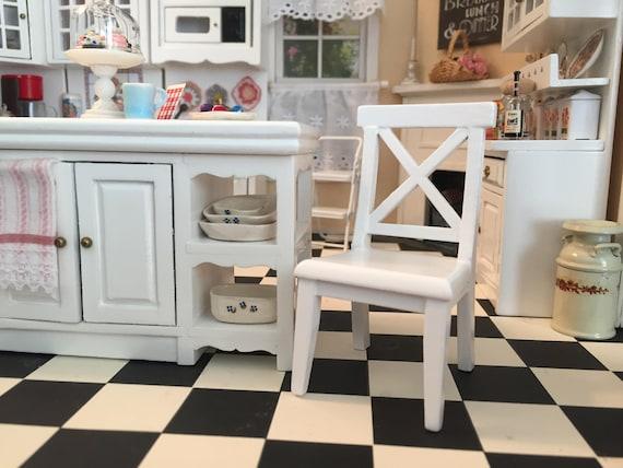 Miniature Chair, Cross Buck White Kitchen Chair, Dollhouse Miniature Furniture, 1:12 Scale, Mini Chair, Dollhouse Chair