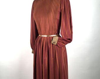 Vintage 80s Pauline Trigere Silk Dress,  Plum, Pumpkin, Taupe, High Neck, Pin Tucks, Long Sleeve, Vertical Stripe, Brocade Print Trim, Boho