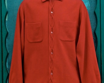 Handsome Vintage 1950's Bright Red BRENT Man's Wool Shirt w/Helix Detail & Square Buttons -Size M