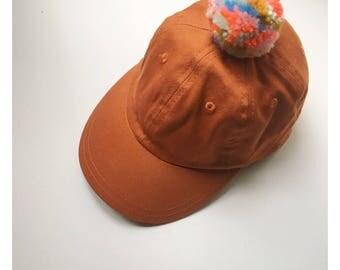 cotton pom pom ball cap