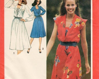 1980s Womens Dress with Set-In Camisole Pattern - Vintage Simplicity 9450 - Size 16 Bust 38 UNCUT FF