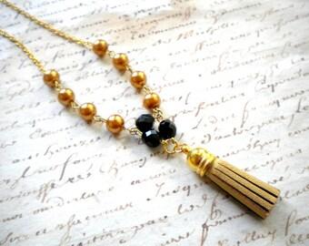 Gold Tassel Necklace Boho Long Necklace Gold Pearl Necklace Gift For Her Gold Leather Tassel Necklace Bohemian Long Necklace