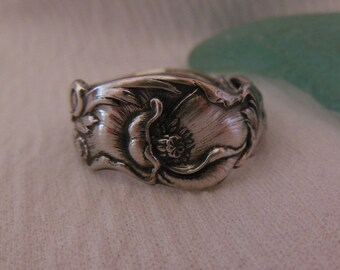 Poppy  Antique Spoon Ring  Sterling Silver