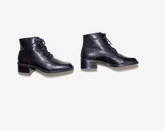 Vintage Ankle Boots 7 / Black Leather Boots / Black Ankle Boots / Ankle Boots Women