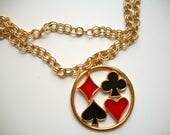 Ace Spades HEARTS Diamonds Clubs necklace - vintage costume jewelry - playing cards - casino - solitaire - poker