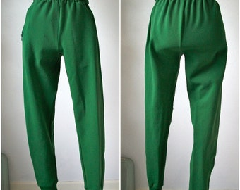 Vintage 70s green TRACK jogger pants - Bund Schneider - made in Germany - size S/M