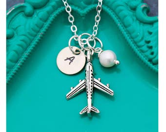 SALE • Airplane Necklace • Flight Attendant Gifts • Personalized Plane Necklace • Silver Airplane Charm • Airplane Jewelry • Pilot Gift Idea